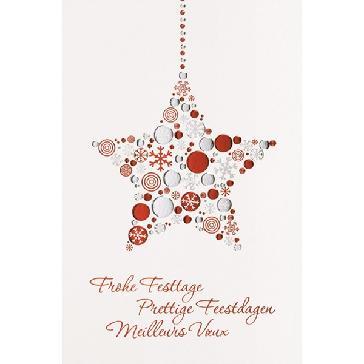 """Weihnachtskarte """"Glänzender Stern"""" - Stern aus glänzenden Kreisen und Schneeflocken"""