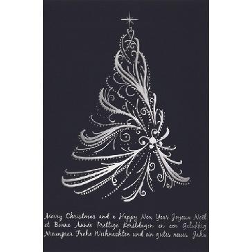 """Weihnachtskarte """"Silberbaum"""" - Weihnachtskarte mit silbernen Christbaum"""