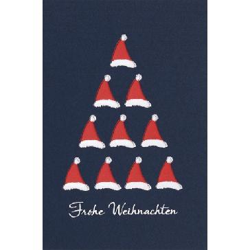 """Weihnachtskarte """"Weihnachtsmützen"""" - blaue Karte mit roten Mützen"""