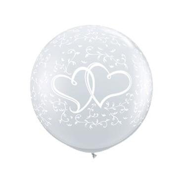 XXL Ballons rund mit Herzen, transparent, 2 St.