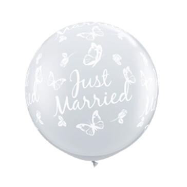 XXL Ballons rund Just Married, transparent, 2 St