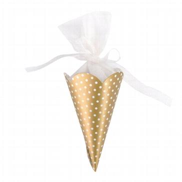 """Zuckertüte """"Polka Dots"""" gold 6 St. - für Gastgeschenke für Hochzeiten"""