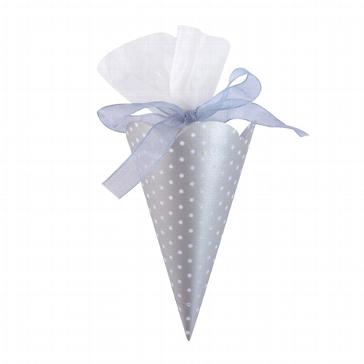 """Zuckertüte """"Polka Dots"""" silber 6 St. - für Gastgeschenk für Hochzeit"""