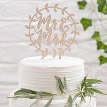 holz cake topper mr mrs script