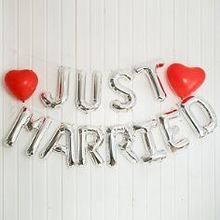 "Ballongirlande ""Just Married"", silber"