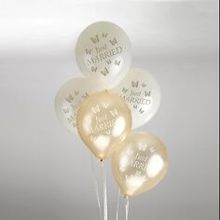 "Rundballons ""Just Married"" in Creme-Gold"