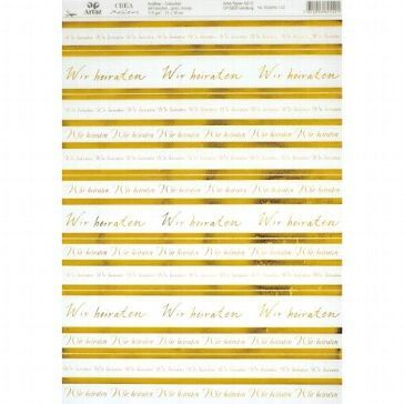 Artoz Kreativpapier Wir heiraten transparent, gold