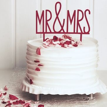 Cake Topper Mr & Mrs in Pink