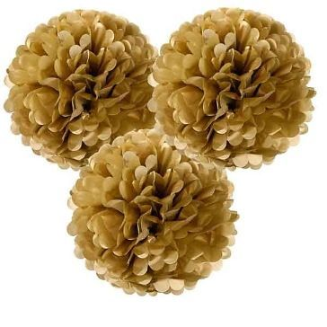 Pompoms Fluffy, 3 St., gold