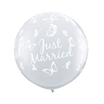 XXL Ballons rund Just Married, transparent, 2 St
